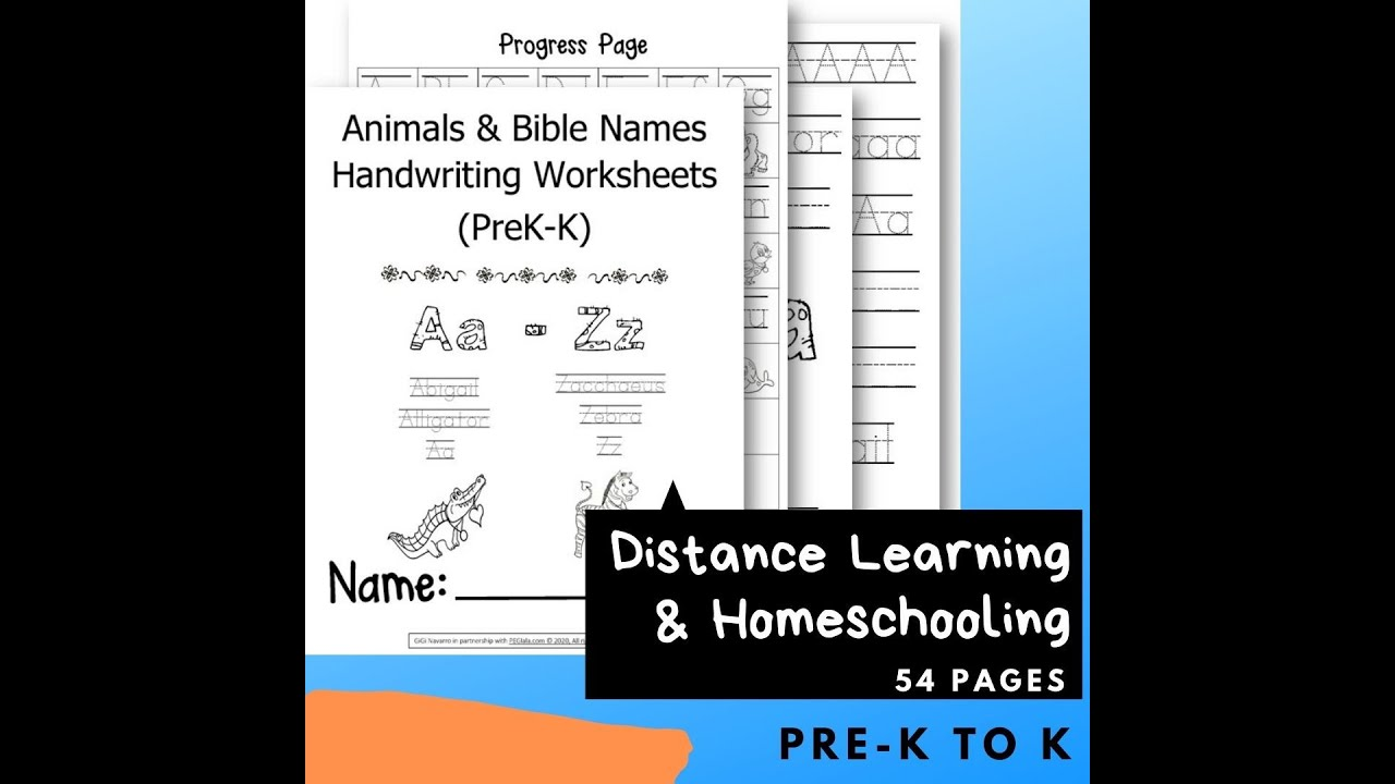 small resolution of Animals and Bible Names Handwriting Worksheets (PreK-K)   PEGlala.com -  YouTube