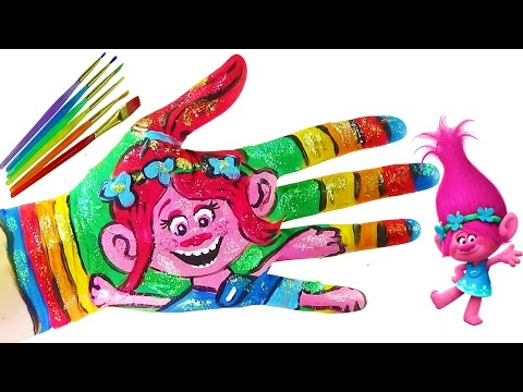 Thumbnail: Learning Colors Video for Children Body Painting | DreamWorks Trolls Poppy Coloring Hand