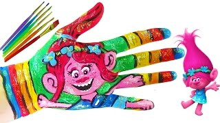 Learning Colors Video for Children Body Painting    DreamWorks Trolls Poppy Coloring Hand