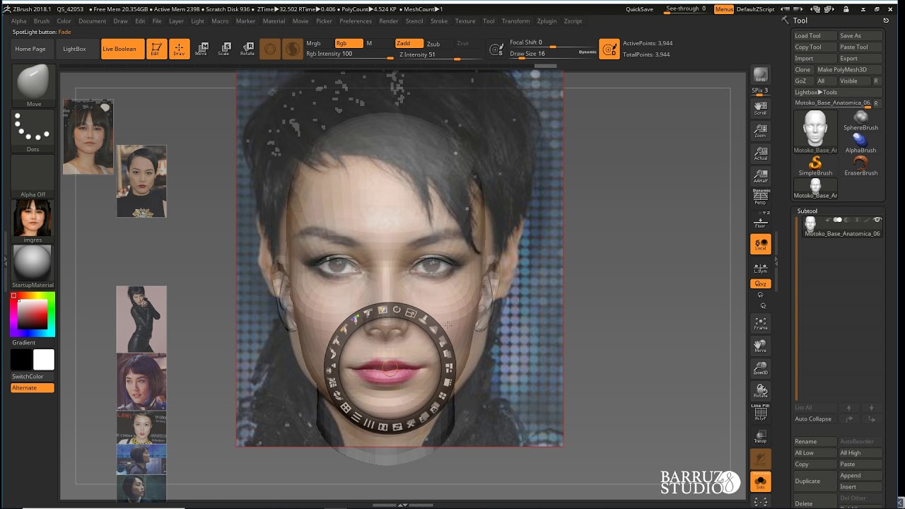 Spotlight Como Sistema De Referencias En Zbrush Youtube