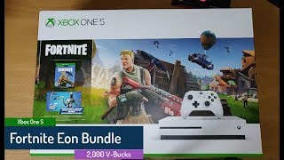 Xbox One S - Fortnite - Eon Bundle - 2,000 V-Bucks - Unboxing and Gameplay