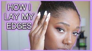 HOW I LAY MY EDGES W/ JAMAICAN BLACK CASTOR OIL! (NO GEL) | 4B/C NATURAL HAIR!