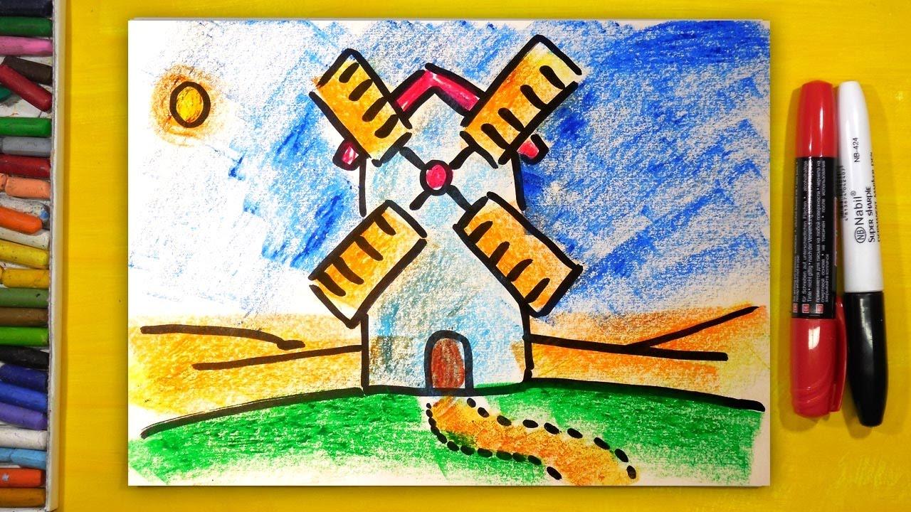 Как нарисовать МЕЛЬНИЦУ, Урок рисования для детей от 3 лет ...