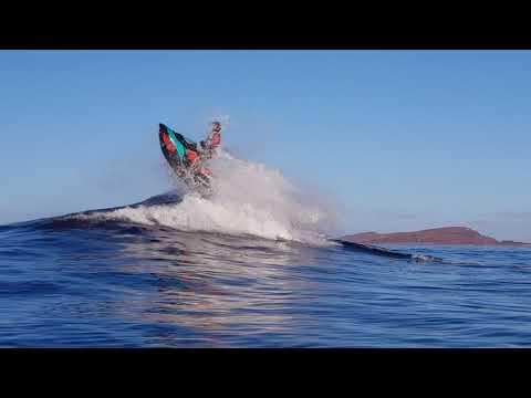 Seadoo spark trixx riding big waves in Norwegian sea.