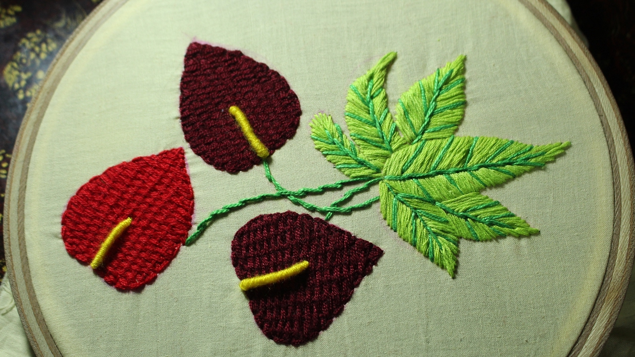 Hand embroidery designs checkered stitch stitch and flower 114