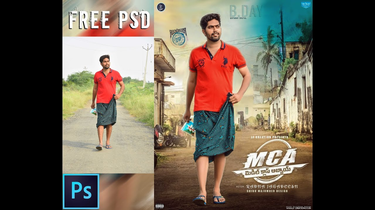 Free Download Psd Of Mca Middle Class Abbayi Movie Poster Youtube