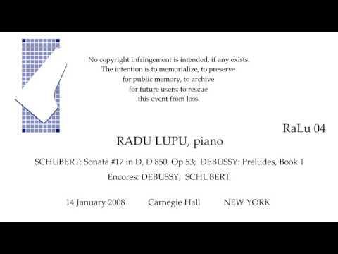 RADU LUPU Live Recital  SCHUBERT DEBUSSY  Carnegie Hall  2008  NEW YORK