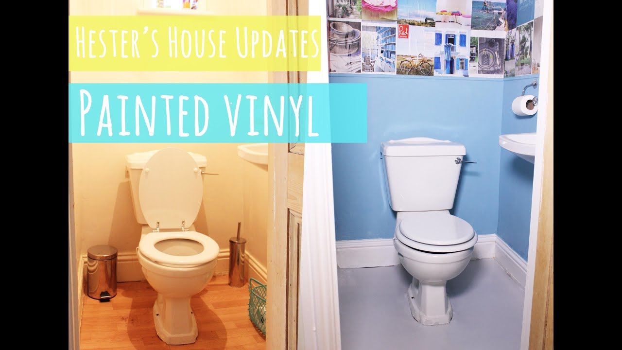 easy bathroom floor toilet makeover part 2 painted vinyl floor 12754