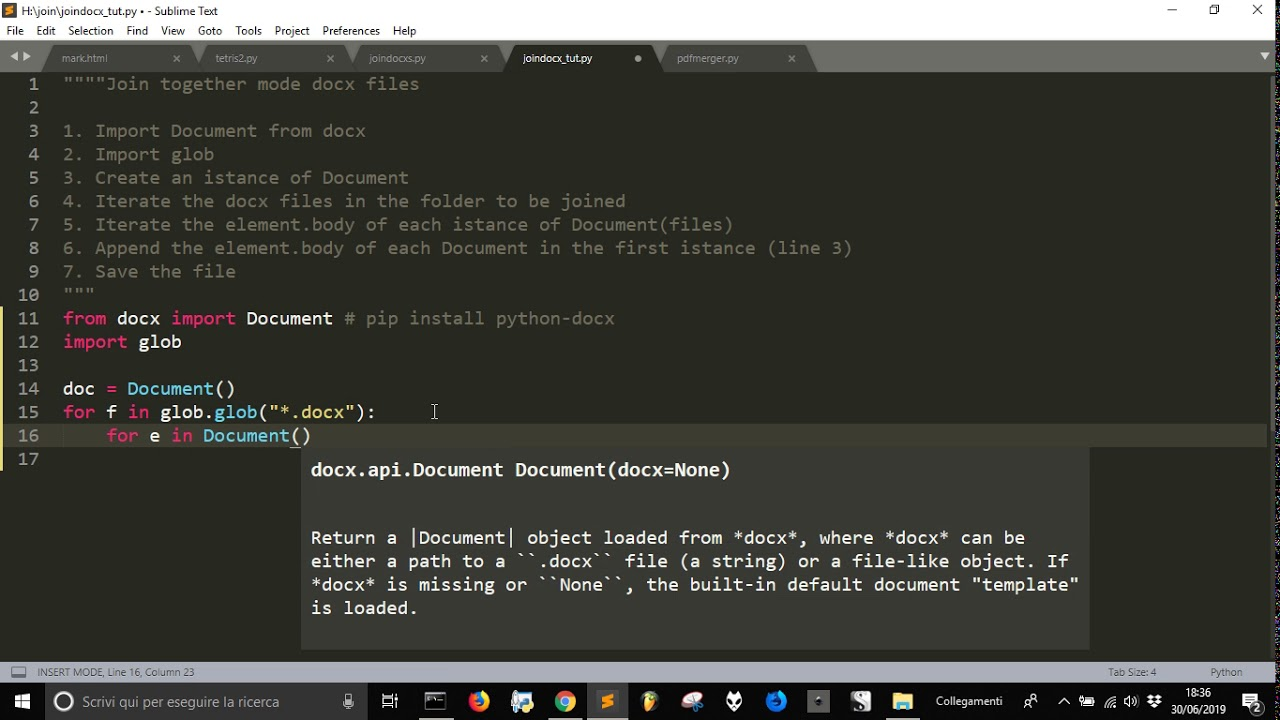 Join Word Office Documents with docx   python programming