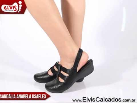 98612ef01b Sandália Anabela Baixa Usaflex U8306 Preto - YouTube
