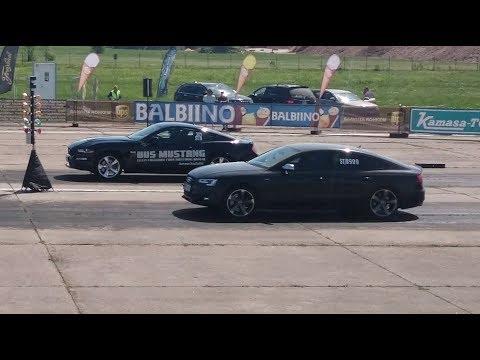 Audi S5 Sportback 3.0T vs 2018 Ford Mustang 5.0 1/4 mile drag race