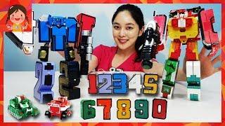 큰 숫자 변신 합체 로봇 1~10 빅 숫자로봇 탱크 장갑차 비행기 미사일 헬리콥터 숫자놀이 사운드 LED 장난감 유아 학습 키즈 [유라]