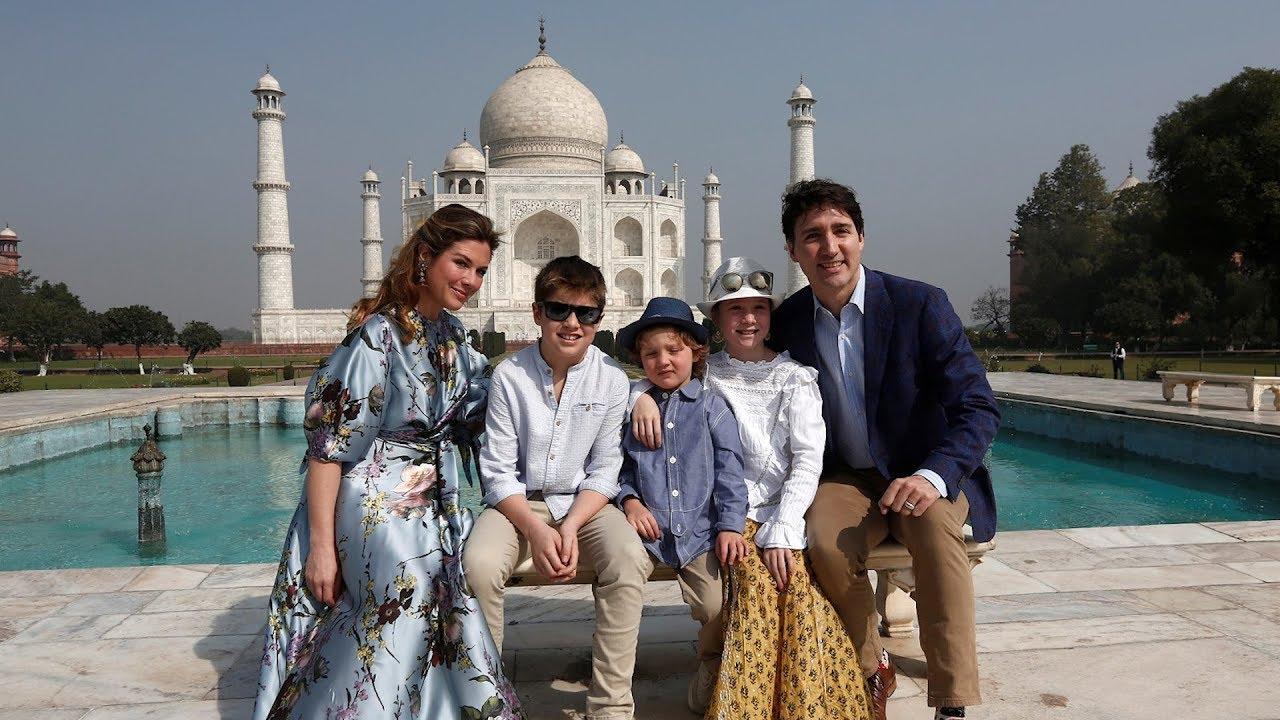 Prime Minister Justin Trudeau and family visit Taj Mahal - YouTube