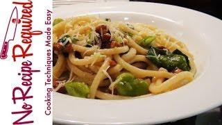 Spaghetti With Fava Beans & Bacon - Noreciperequired.com