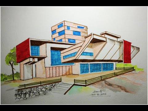ARCHITECTURE MODERN HOUSE DESIGN (FREEHAND DRAWING)