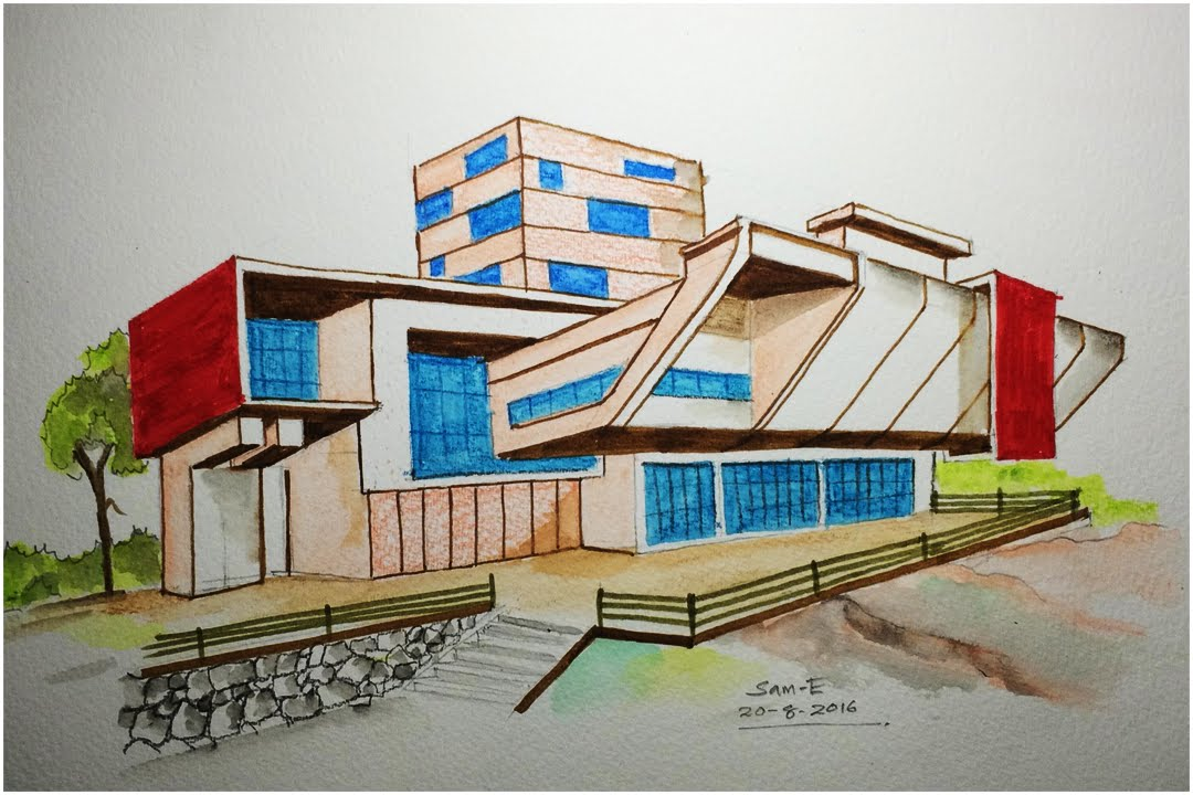 ARCHITECTURE MODERN HOUSE DESIGN FREEHAND DRAWING