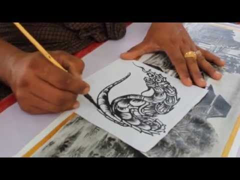 Amazing Street Artist in Bagan (Myanmar) - Painting a Traditional Burmese Dragon