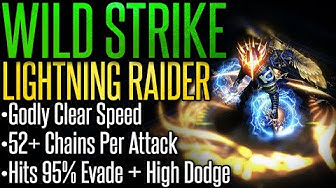【Path of Exile 3.9 READY】Wild Strike Lightning Raider –Build Guide– Godly Clear | Chains 52+ Times!