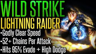 [Path of Exile 3.8] Wild Strike Lightning Raider – Build Guide – Godly Clear Speed, Chains 52 Times!