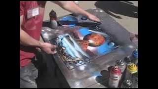 Spray Paint Art live painting #5 of 8 (1 minute style painting)