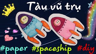 How to make a PAPER SPACESHIP | how to draw spaceship | HAPPY DOLLS #papercraft #paperdolls