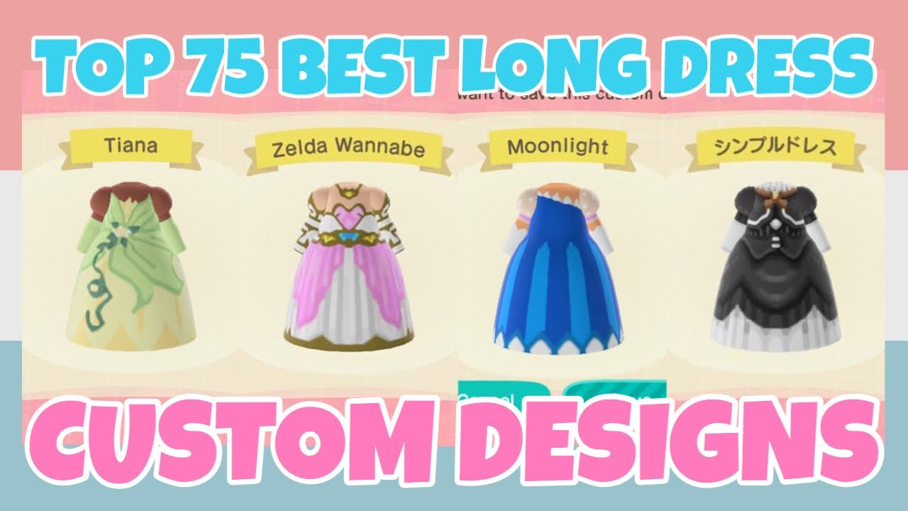 Top 75 Best Long Dress Custom Designs In Animal Crossing New Horizons Design Id Code For Gowns Youtube