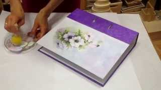 Decoupage tutorial - DIY. How to decorate folder with rice paper. Dekorieren ordner(, 2015-09-24T20:05:01.000Z)