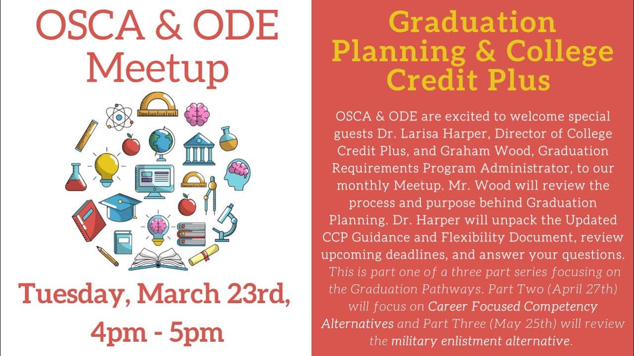 OSCA ODE Meetup Graduation Planning & CCP (Part One)