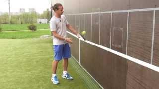 Теннис. Тренировка со стенкой. Игра слёта.