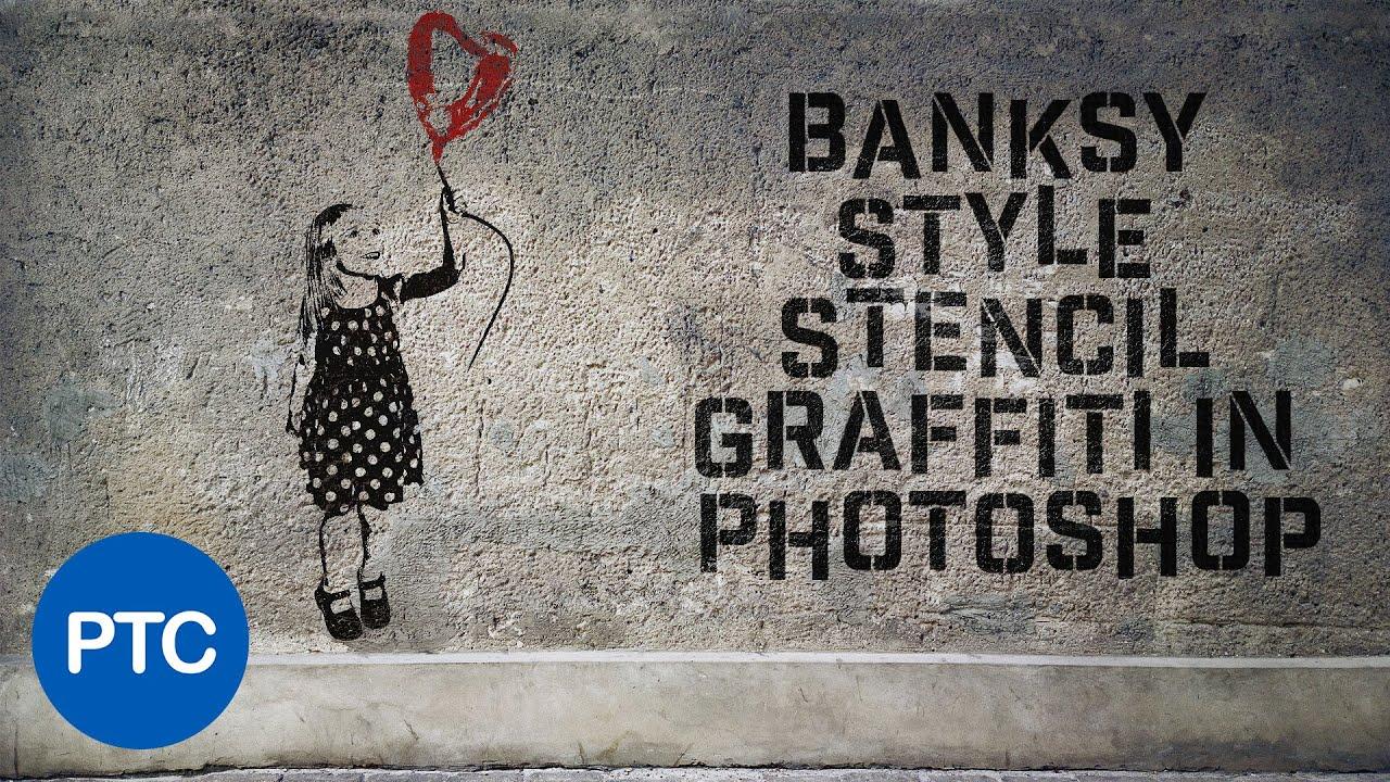 Banksy Style Stencil Graffiti Effect In Photoshop - YouTube  Banksy Style St...