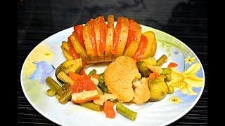 Картошка гармошка с овощами Постный рецепт Диетическое блюдо Potatoes with vegetables Diet dish