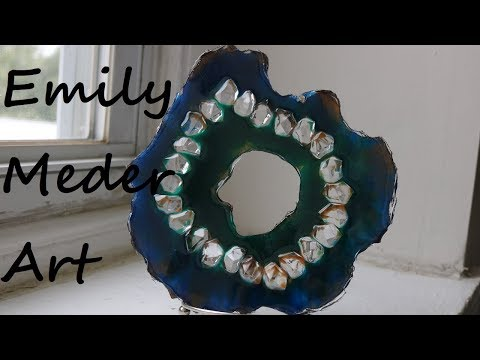 Free Form Geode Resin Art with Homemade Mold from Silicone Caulk