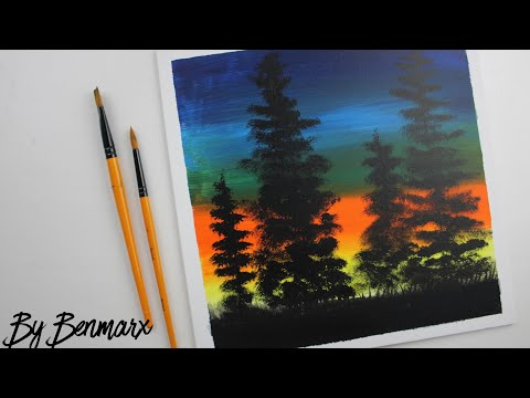 -acrylic painting | 5 minutes Painting | painting tutorial | satisfying