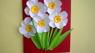 Ideen: Schöne Geschenke zum Muttertag. 3D Blumenkarten (Osterglocken, Narzissen) selber basteln