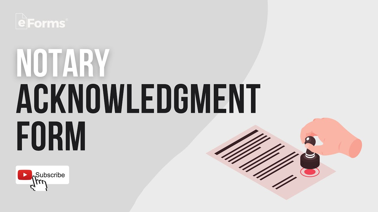 Notary Acknowledgment Form Explained Youtube