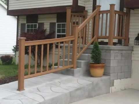 Porch railing youtube for Concrete patio railing