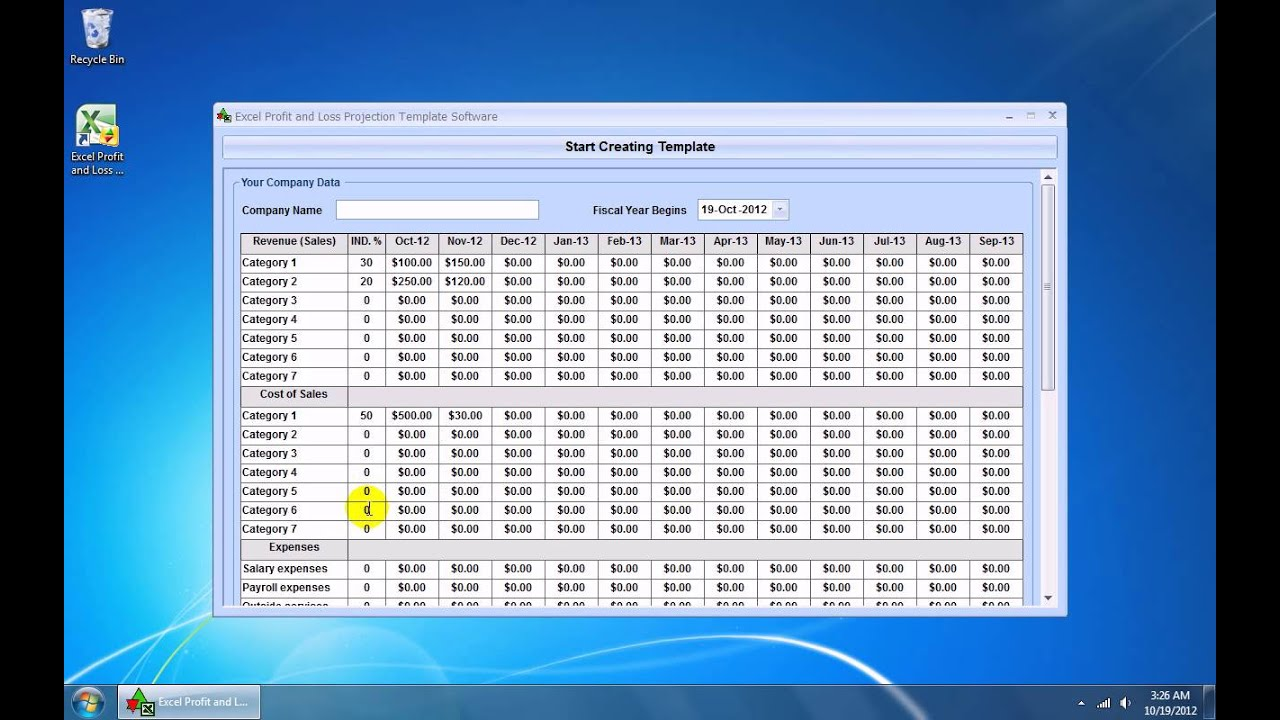 How To Use Excel Profit and Loss Projection Template Software - YouTube