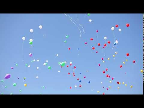 Футаж HD. В небе летят разноцветны воздушные шары