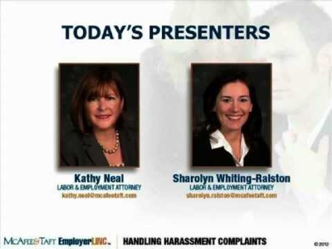 Handling Harassment (or Similar Types of) Complaints