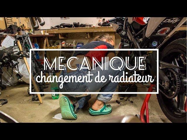 Une fille dans l'atelier - Changement de radiateur sur R125