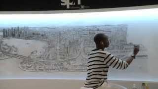 Stephen Wiltshire draws Singapore skyline from memory