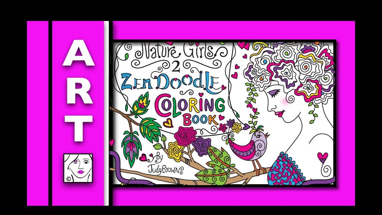Zendoodle coloring enchanting gardens - Preview Adult Coloring Book_zen Doodle Coloring Book Nature Girls 2