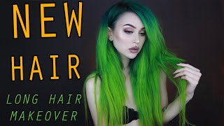 GREEN HAIR MAKEOVER  - CUT, DYED & EXTENSIONS