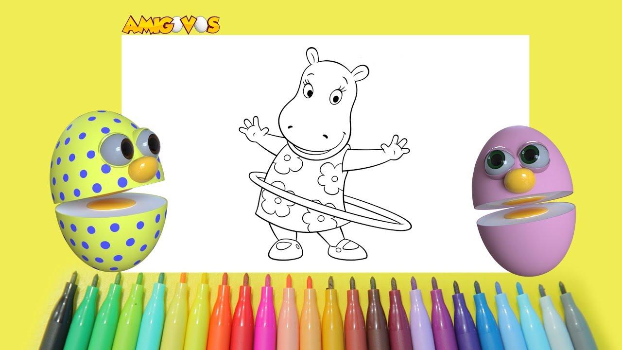 Desenhar E Pintar Hipopotamo Com Amigovos Desenho Para Criancas