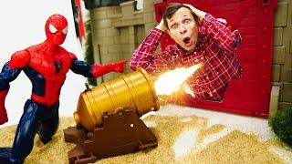Супергерои в видео онлайн - Человек ПАУК на осаде крепости Мистерио! - Новые игры с машинками
