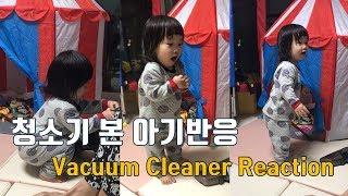 청소기를 처음 본 아기 Baby vacuum cleaner reaction