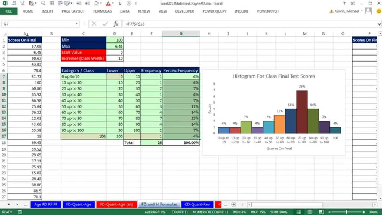 Excel 2013 statistical analysis 8 frequency distributions excel 2013 statistical analysis 8 frequency distributions histograms skew quantitative variable youtube ccuart Image collections