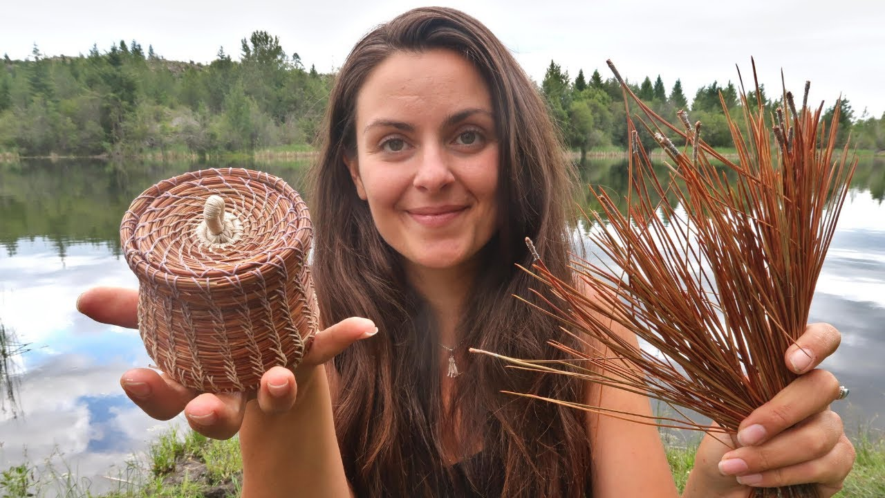 Making a Basket from PINE NEEDLES | Start to Finish Project