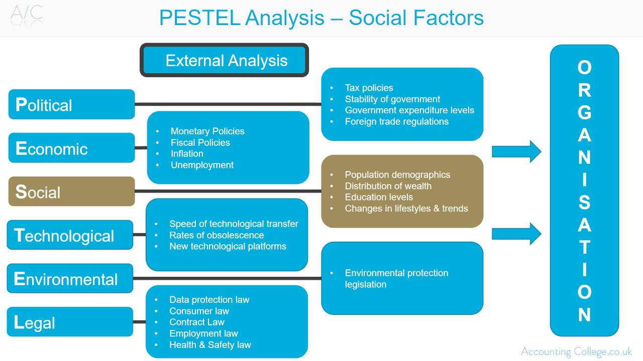 pestle factors Pestle analysis one instrument to analyse the company's external environment is the pest analysis pest stands for political, economical, social and technological factors two more factors, the legal and environmental.