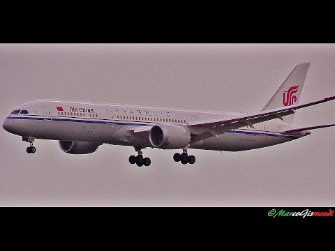 Air China Boeing 787-9 and Qatar 787-8 sunset landing at Rome FCO Airport